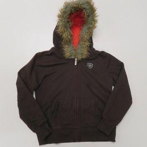 Ariat Girls M 10 Hoodie Jacket Full Zip Fur Lined